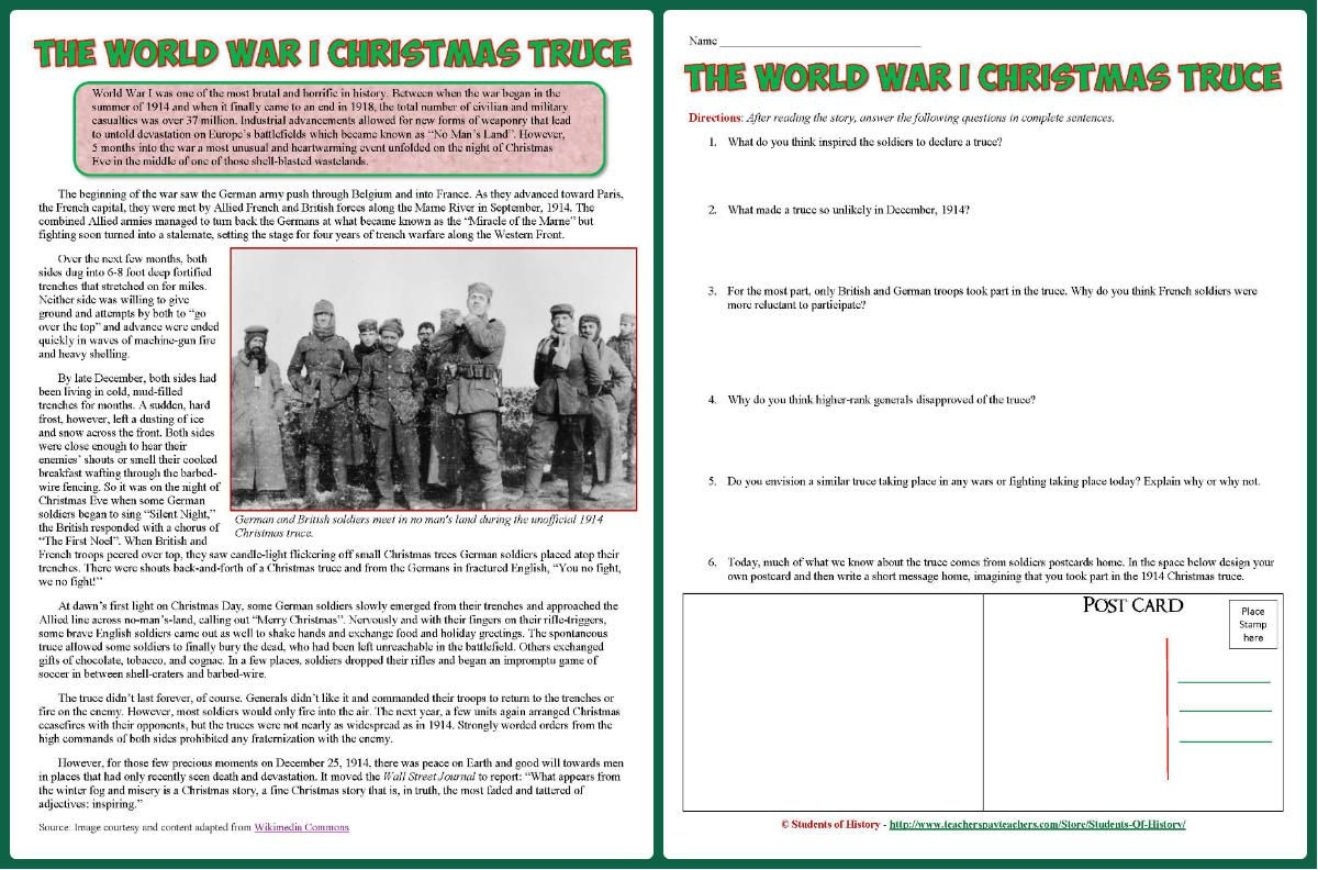 Awesome Reading On The Christmas Truce During World War 1 Includes Article Worksheet And Christ Christmas Truce World History Lessons World History Teaching