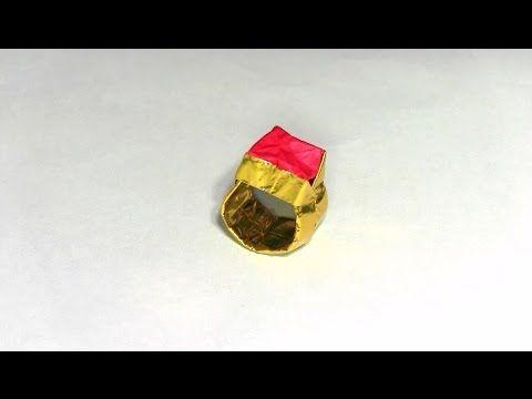 折り紙ランド Vol,90 指輪の折り方 Ver.3 Origami: How to fold a ring Ver.3 - YouTube