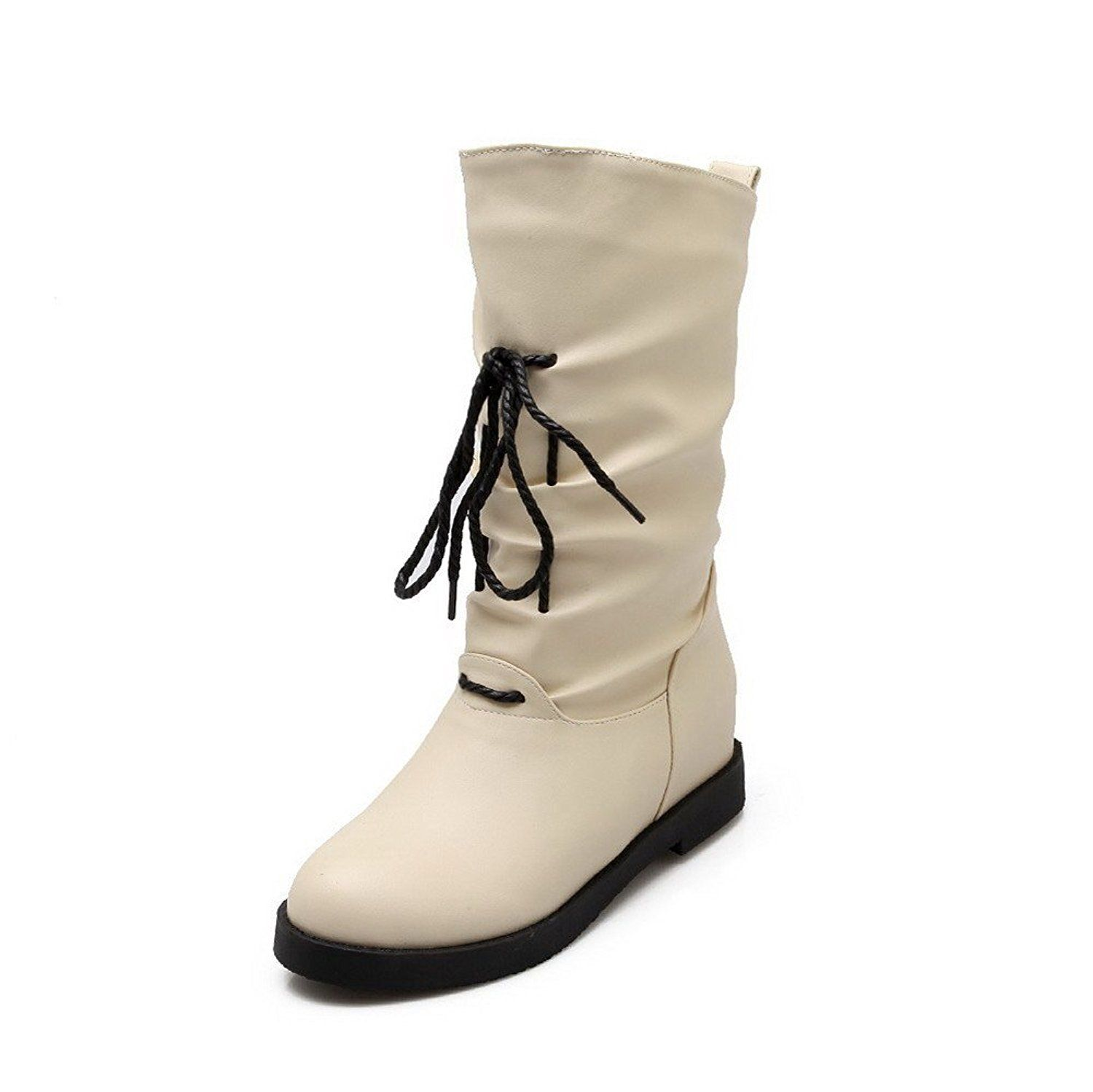 Women's High-Heels Solid Round Closed Toe Soft Material Pull-on Boots