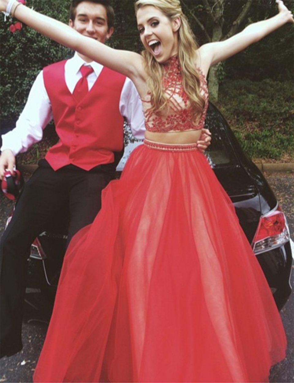 Schöne Perlen Tüll Rot Prom Kleider High Neck Zweiteiler Abendkleid ...