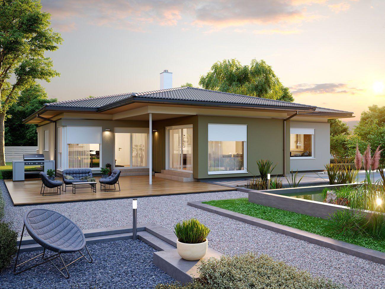 wohnen eben schon von au en begeistert der konzept bungalow 140 mit seiner gelungenen. Black Bedroom Furniture Sets. Home Design Ideas