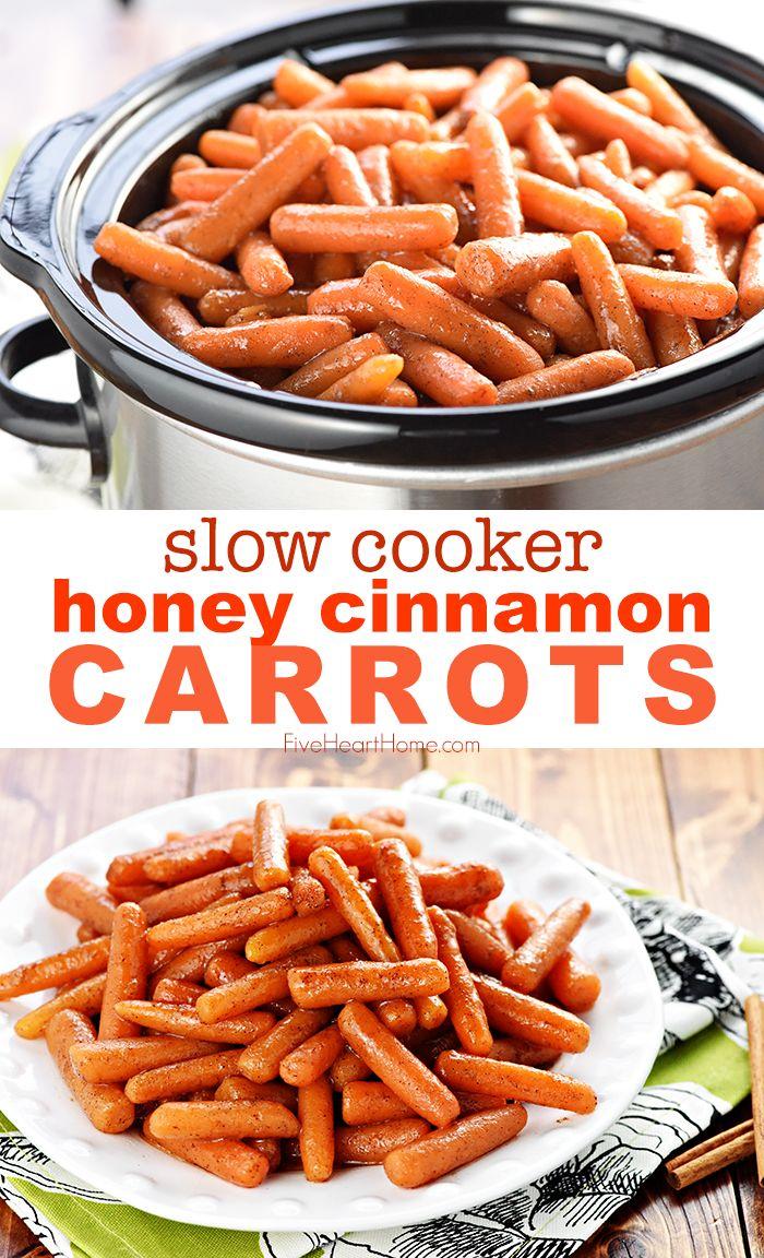 Slow Cooker HONEY CINNAMON CARROTS #dinnersidedishes
