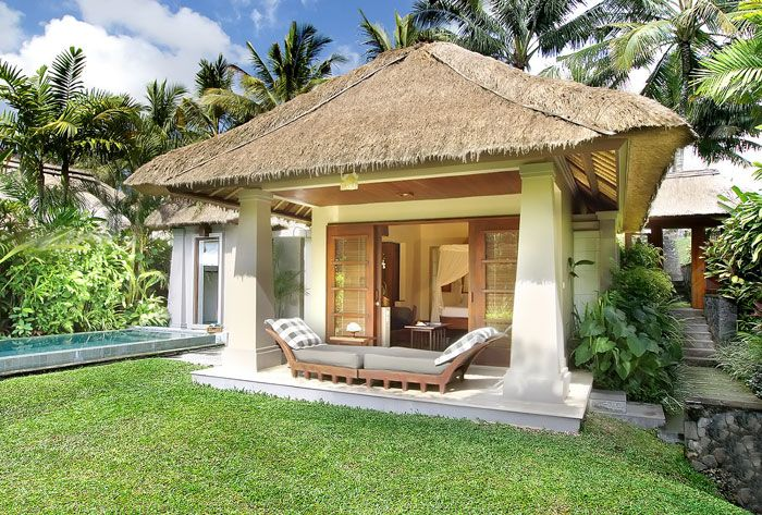 Green Lawn Thatch Roof Small Pond Tropical Plants Coconut