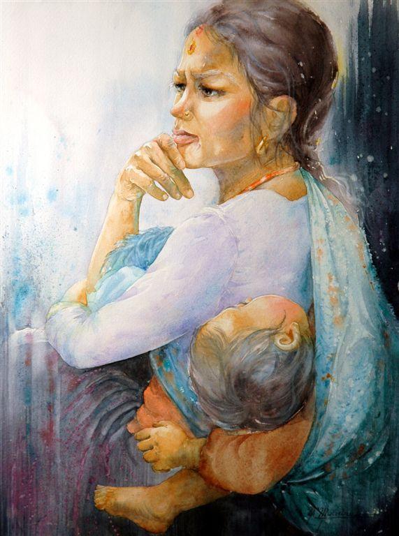 Moudru Marie Claire Watercolor Pintura De Madre E Hijo Pinturas