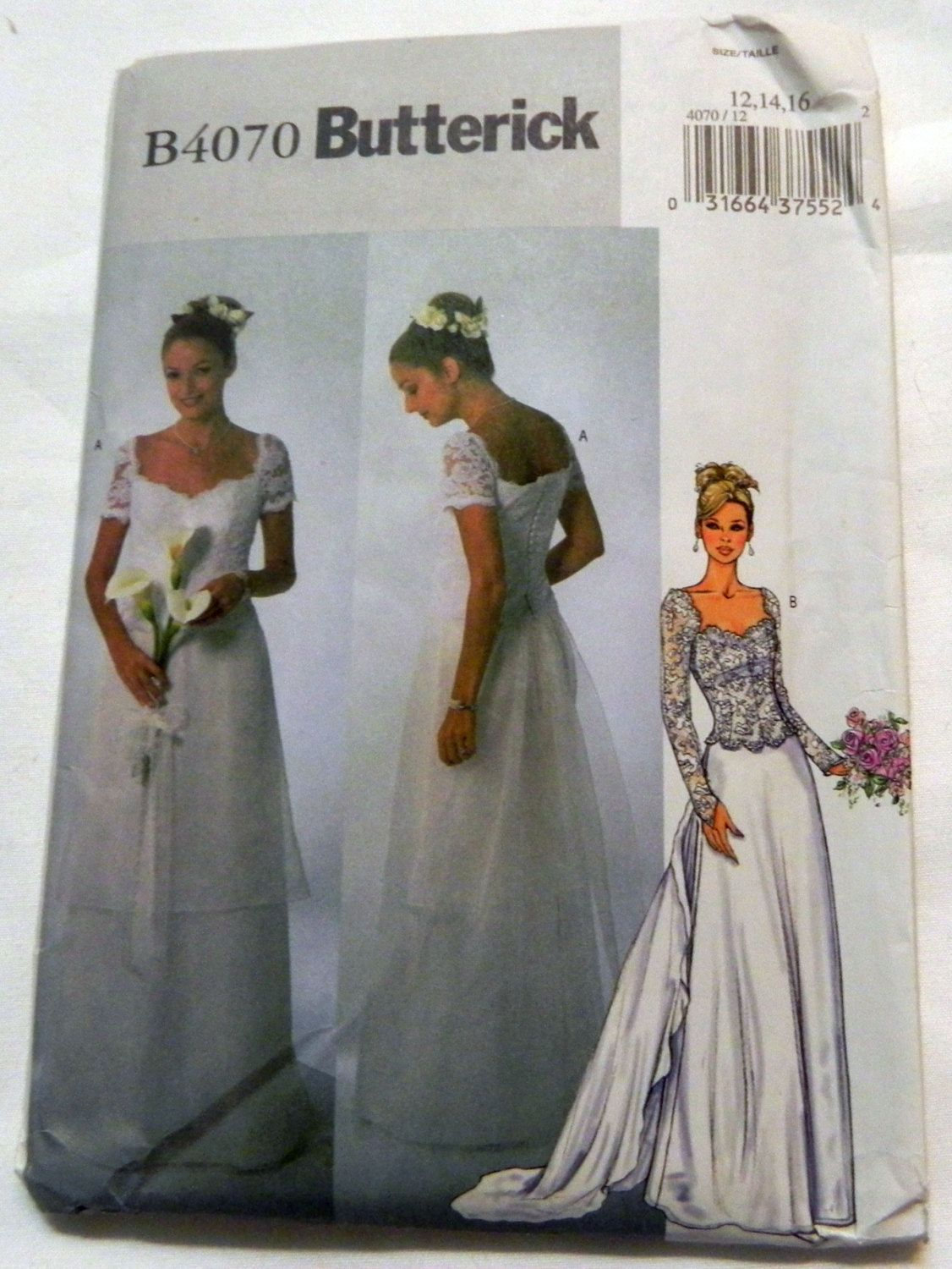 Wedding dress with lace overlays detachable train sewing Butterick wedding dress patterns