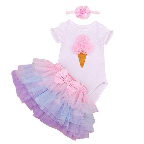 BabyPreg Baby Rainbow Skirt First Birthday Outfit Girl 3PCs Dress Bodysuit Crown Set