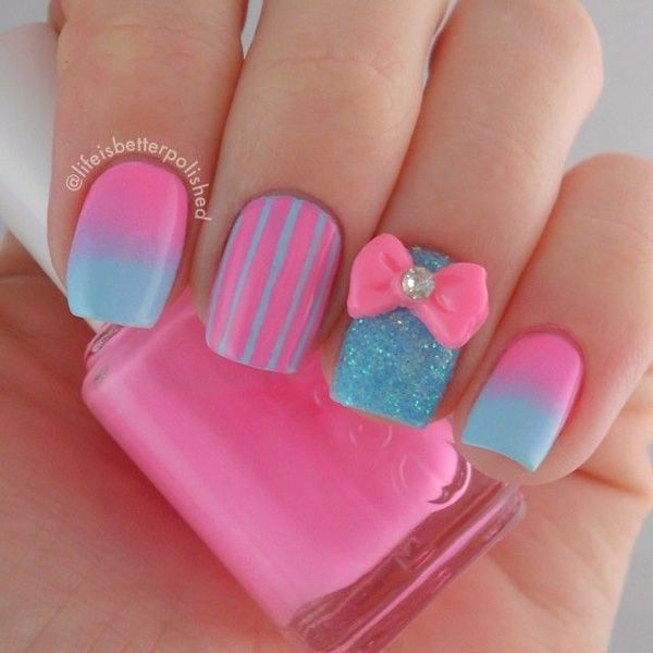 A Cotton Candy Inspired Pink Nail Art Design Predominantly Blue Polish Is Also Used To Compliment The Color Grant Styles As Well Stripes
