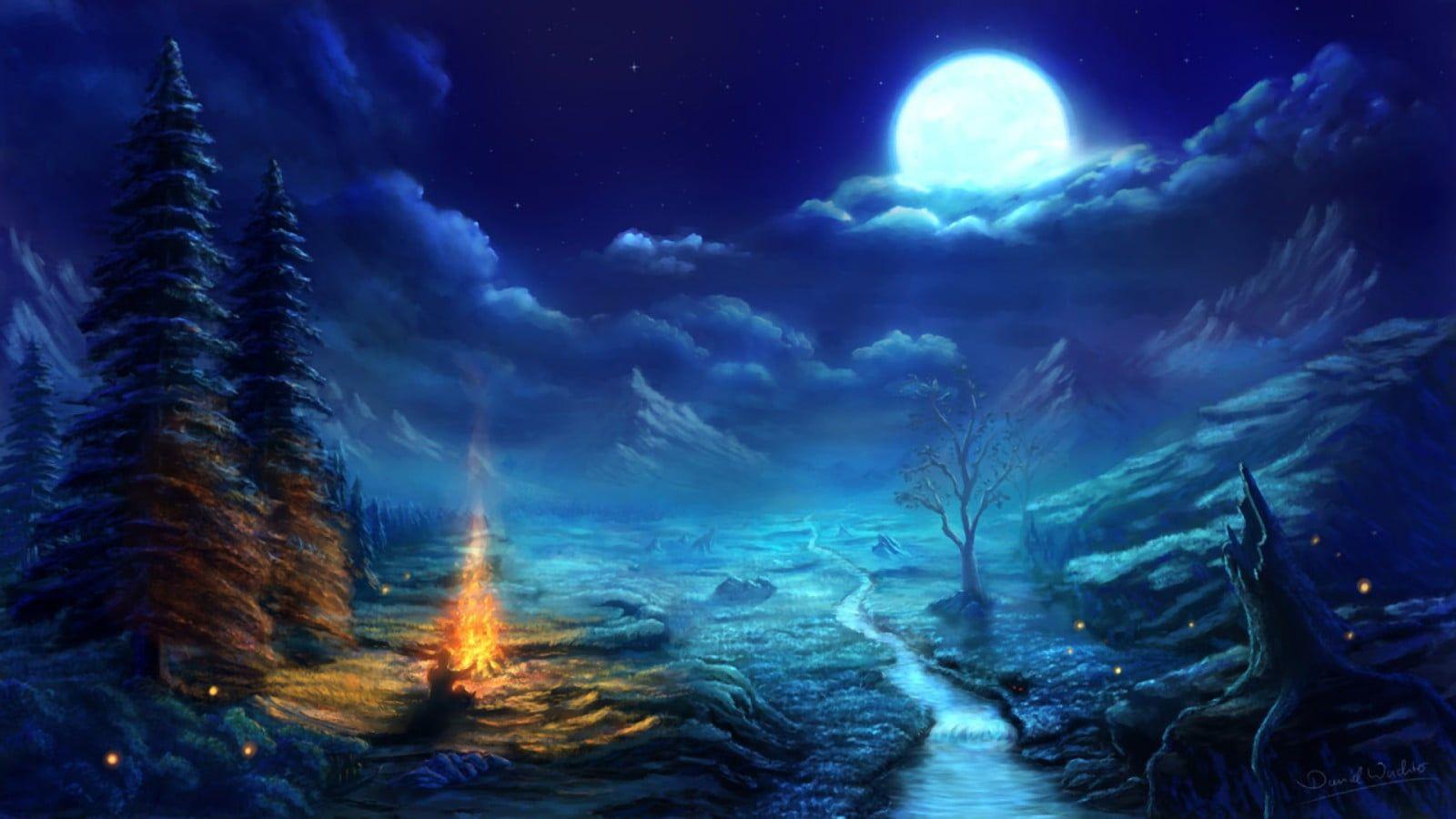 Image Result For Digital Art Nature Night Scenery Scenery Wallpaper Fantasy Landscape