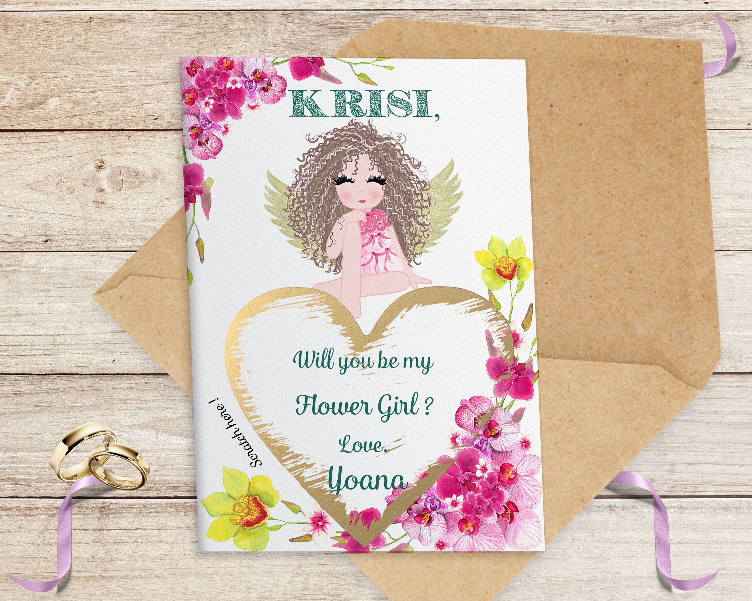 Be my Bridesmaid Personalised* Be my maid of honor Bridesmaid proposal Scratch off card flower girl SET OF 5 CARDS bridesmaid box