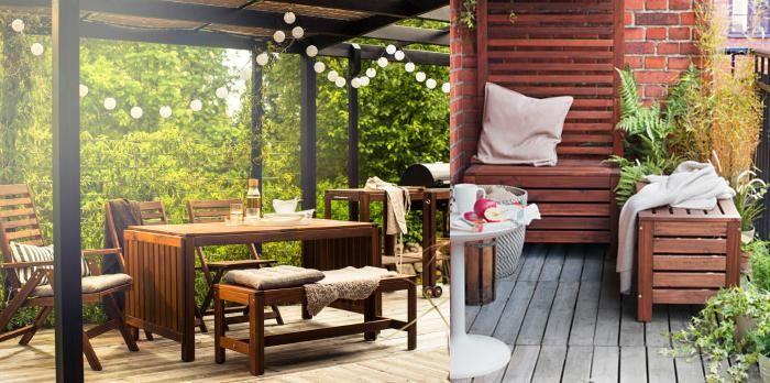 Bancos de jardín Ikea con encanto: baratos, de madera
