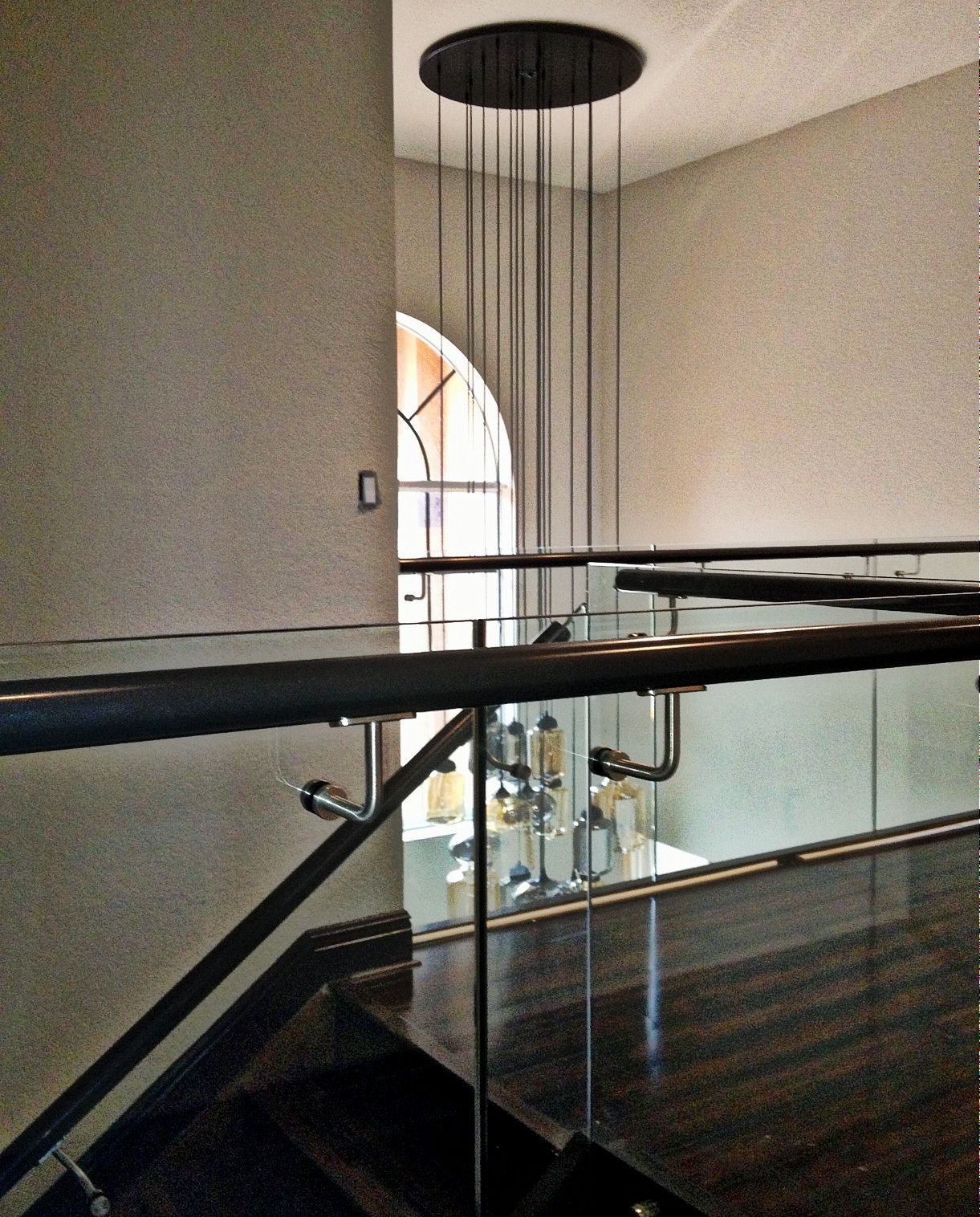 Modern Glass Staircase, Custom Chandelier, Blown Glass Pendant ...