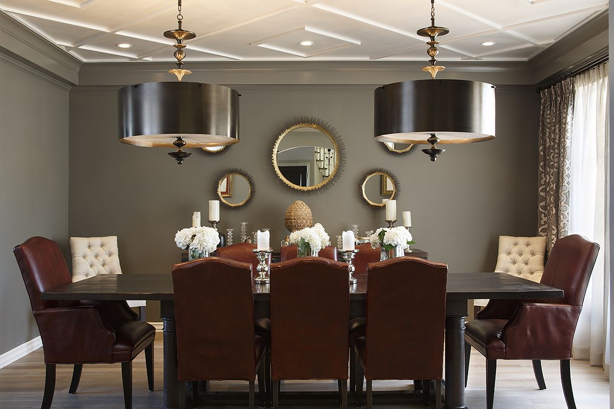 dark grey walls traditional dining mixed with modern fixture and