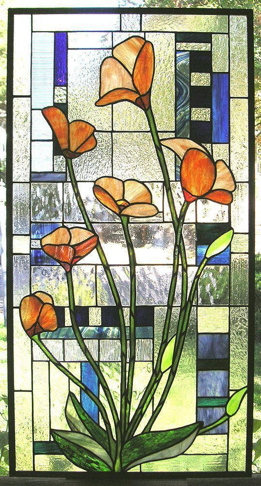 Art Nouveau Inspired California Poppy By Mason Larose: Stained Glass · Six California Poppies