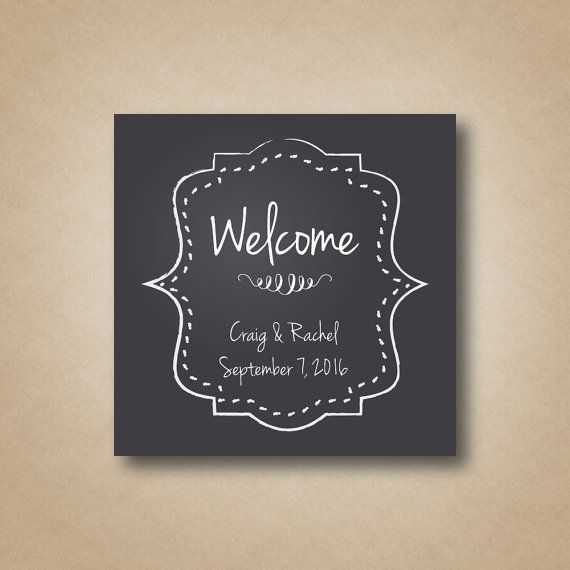 Wedding Welcome Bag Stickers Chalkboard Square Labels Box Ho