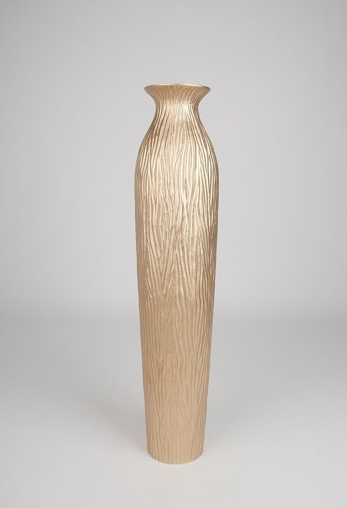 Tall Floor Vase 36 Inches Wood Gold Leewadee Contemporary