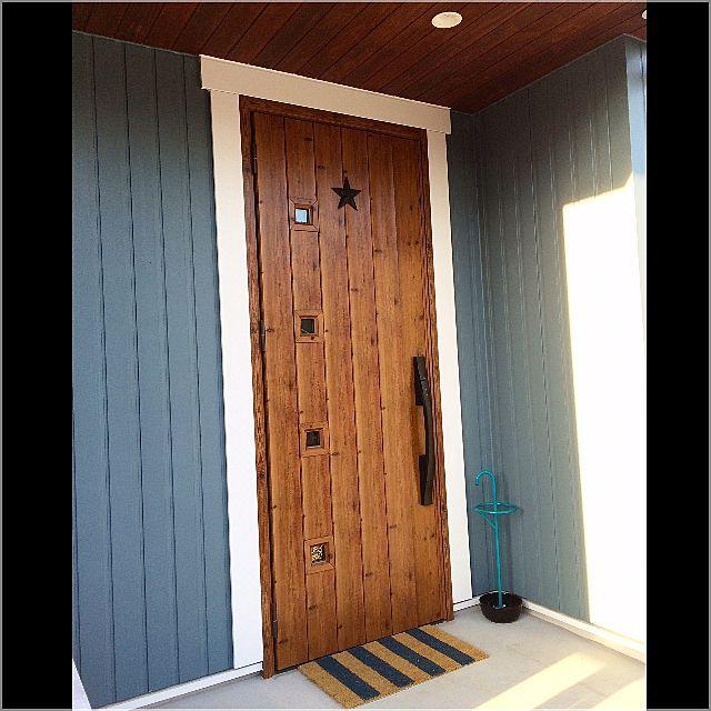 玄関 入り口 ドアマット 星 外壁 モルタル などのインテリア実例