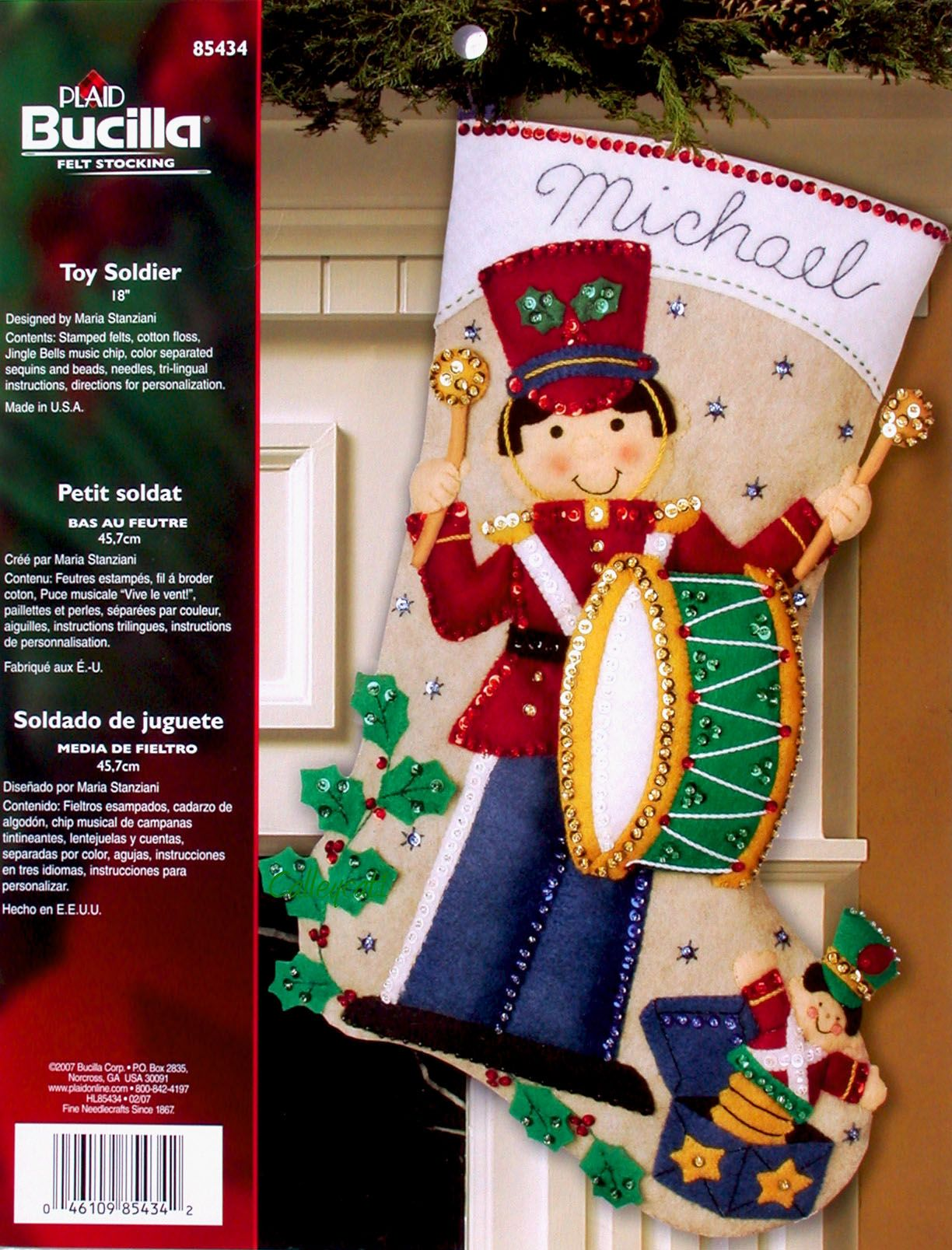 Bucilla Toy Soldier 18 Musical Felt Christmas Stocking Kit 85434