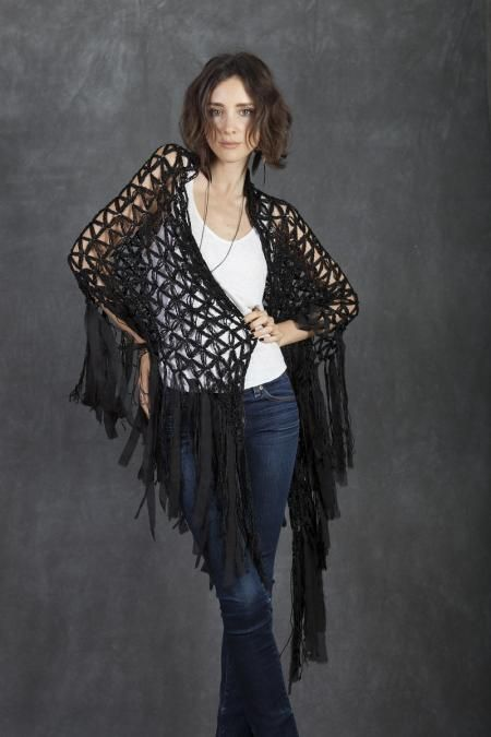 Cecilia De Bucourt SIGNATURE Silk Black Shawl Hand made ...
