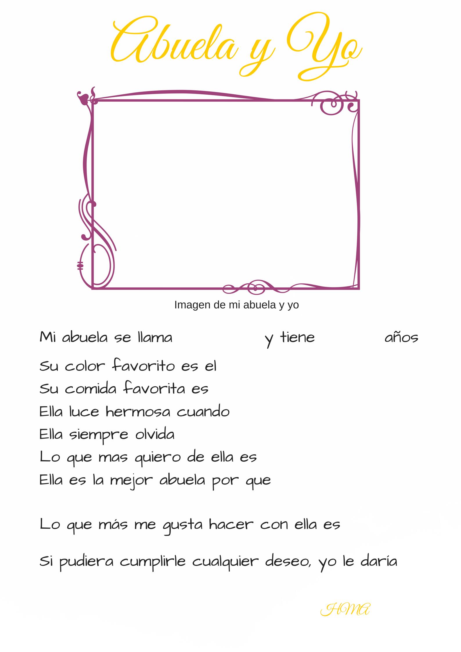 Hoja para rellenar Abuela y Yo, Carta para el Día de las Madres ...