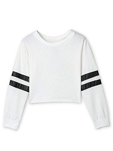 c517059f9fb28 Joeoy Womens Casual Striped Long Sleeve Crop Top Sweatshirt WhiteM ...