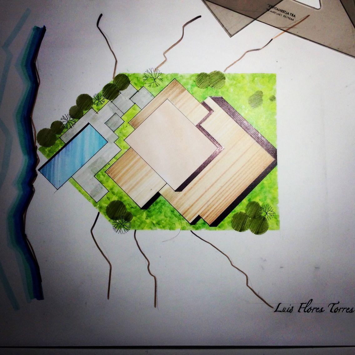 Casa Con Desniveles Planta De Conjunto Plantas Arquitectonicas Arquitectura Paisajista Plano De Conjunto