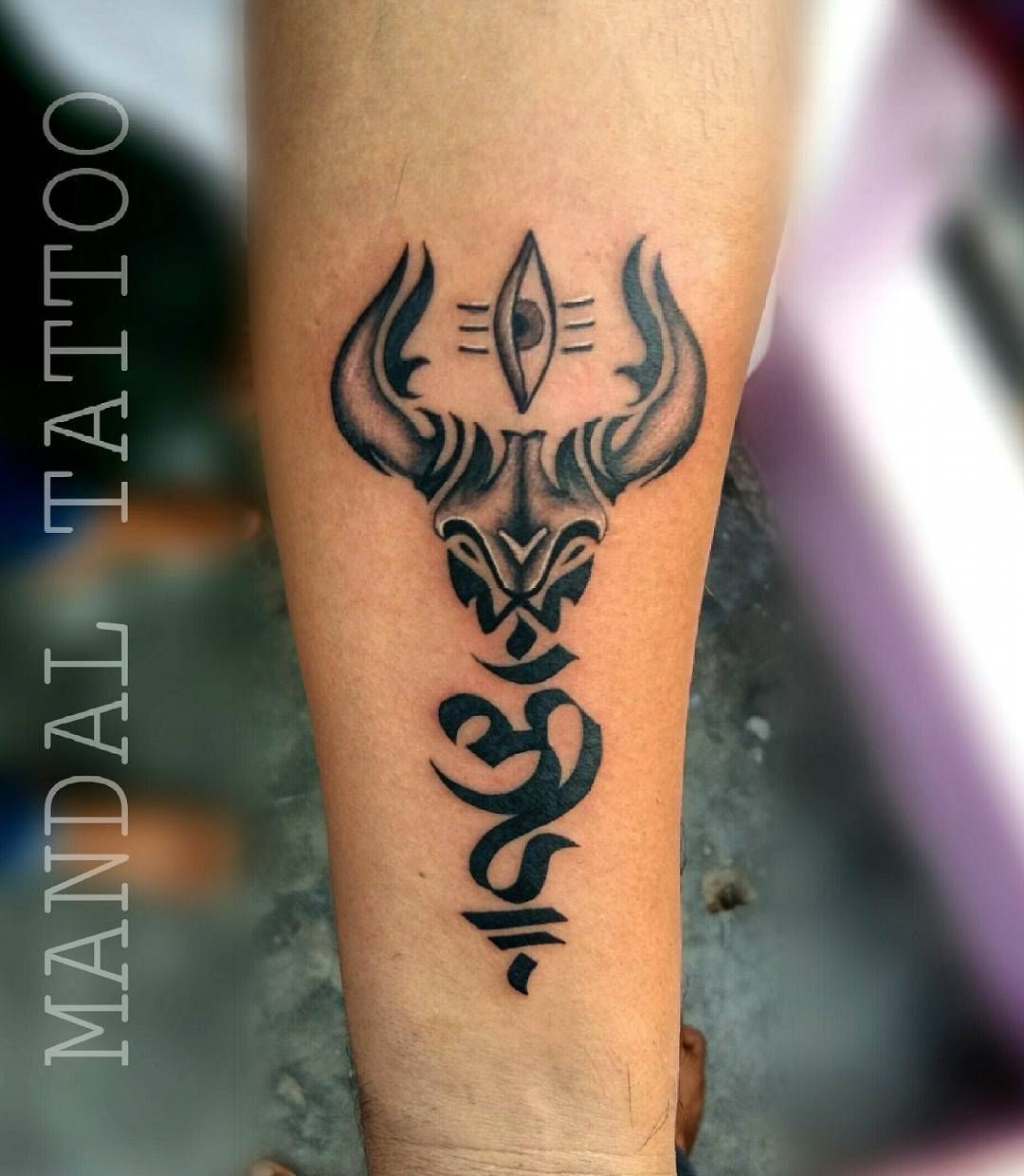 Om Trishul Nandi Tattoo By Lalit Sn Mandaltattoo Trishul Tattoo Designs Om Tattoo Design Shiva Tattoo Design