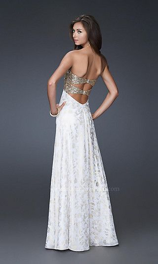1feb3c7ae23 Details about NEW La Femme Coral Gown Sequin Strapless Formal Prom ...