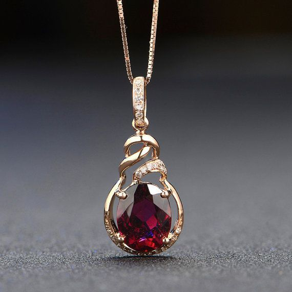 Rubellite Red Tourmaline Diamond in 18k Rose Gold