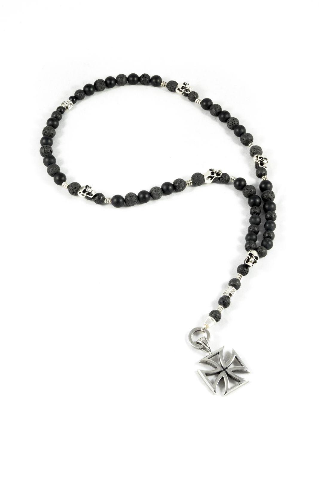 Rosenkranz Kette mit Lava perlen und edelstahlbeads