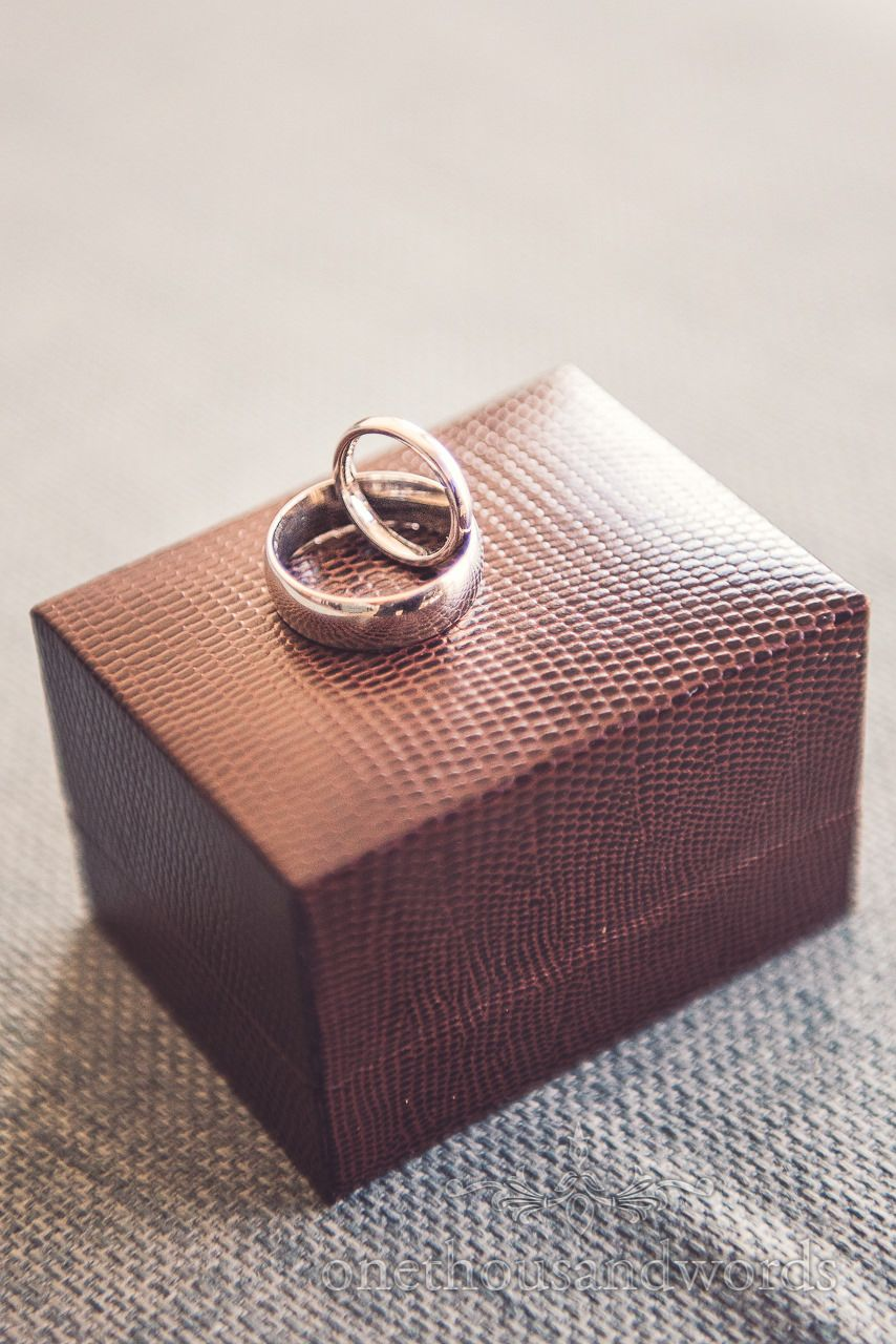 Wedding rings on box at Harbour Heights wedding Photography by one