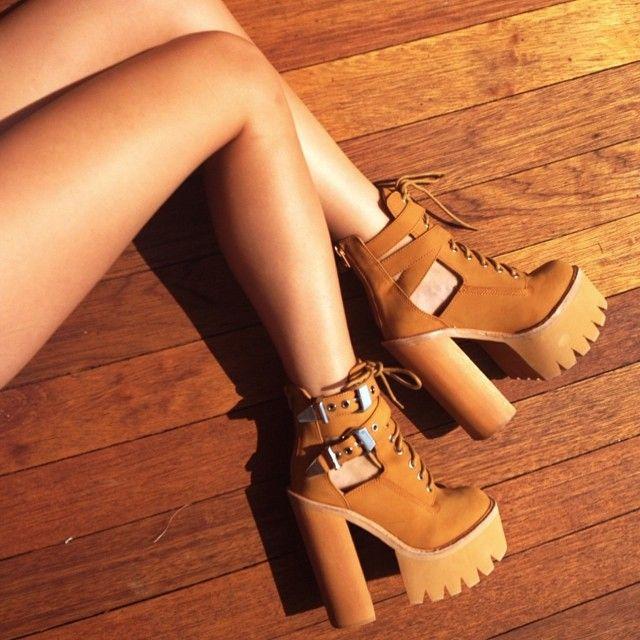 Danielle in the @jeffreycampbell Abner Platform #timbalands #lugsole || Get the platforms: http://www.nastygal.com/shoes/jeffrey-campbell-abner-platform-boot?utm_source=pinterest&utm_medium=smm&utm_term=ngdib&utm_content=omg_shoes&utm_campaign=pinterest_nastygal