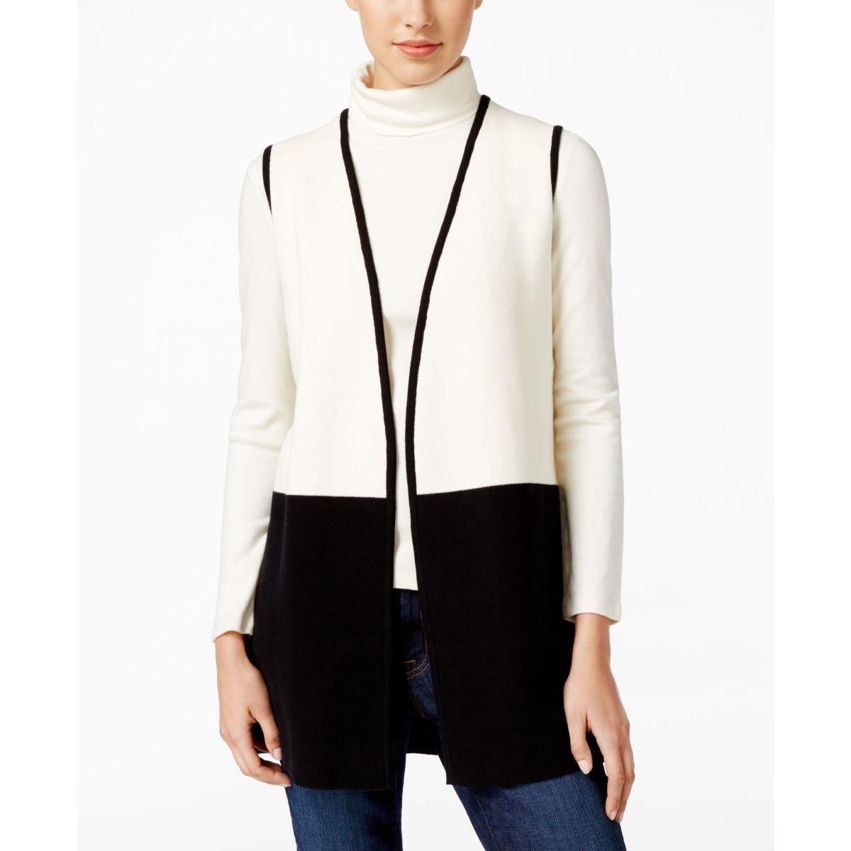 Charter Club Womens Colorblock Contrast Trim Cardigan Sweater