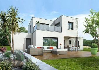 Belle maison contemporaine cubique, offrant de beaux volumes de vie ...