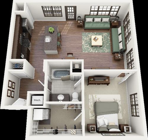 3D Floorplans Bullington One Bedroom Apartment Floorplan North