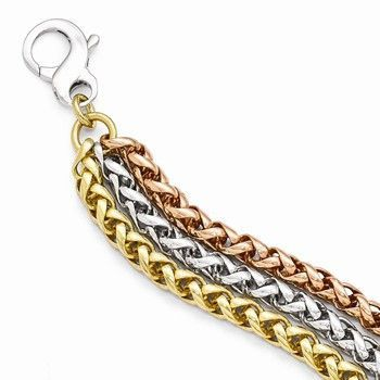 Rhodium Rose & Gold-Tone-Strand Necklace