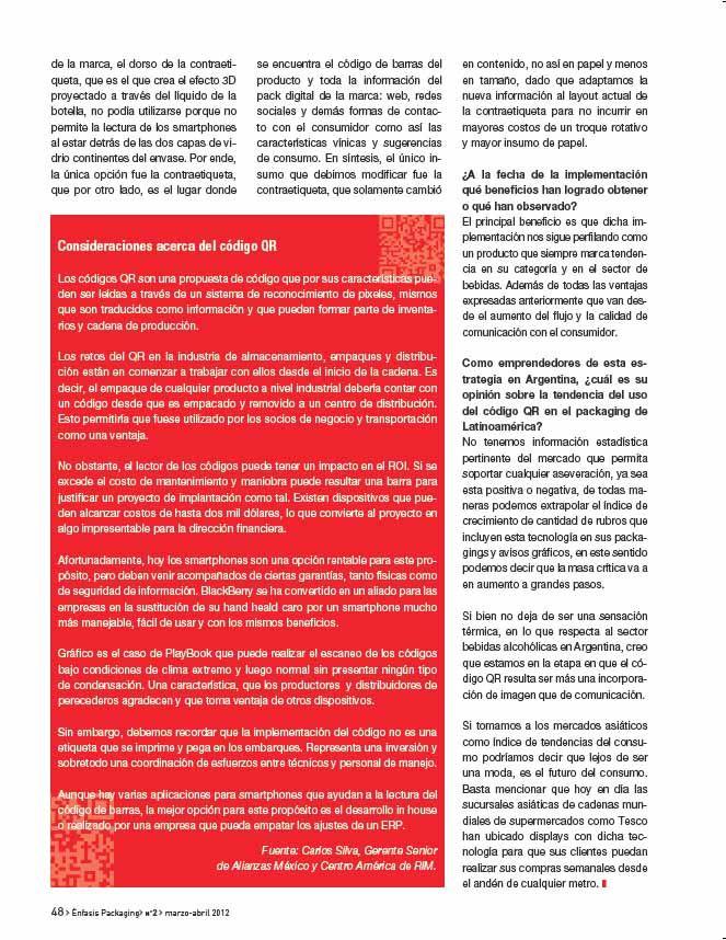 Entrevista de implementación del QR Code en el packaging de New Age realizada para la revista Enfasis Logística Online - by Mariano Cunille - Página 3