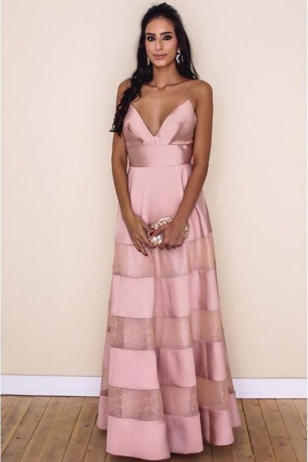 V Neck Pink Prom Dress With Spaghetti Straps | Elegant Dresses ...