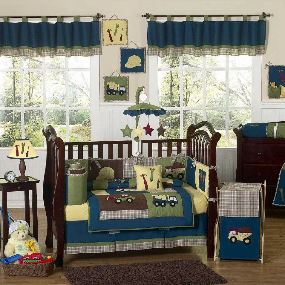 Trendy Blue Over Valance For White Window Frame Treatment As Well Brown Classic Crib And Themes Baby Bedding Sheet Decorate In Custom Boy