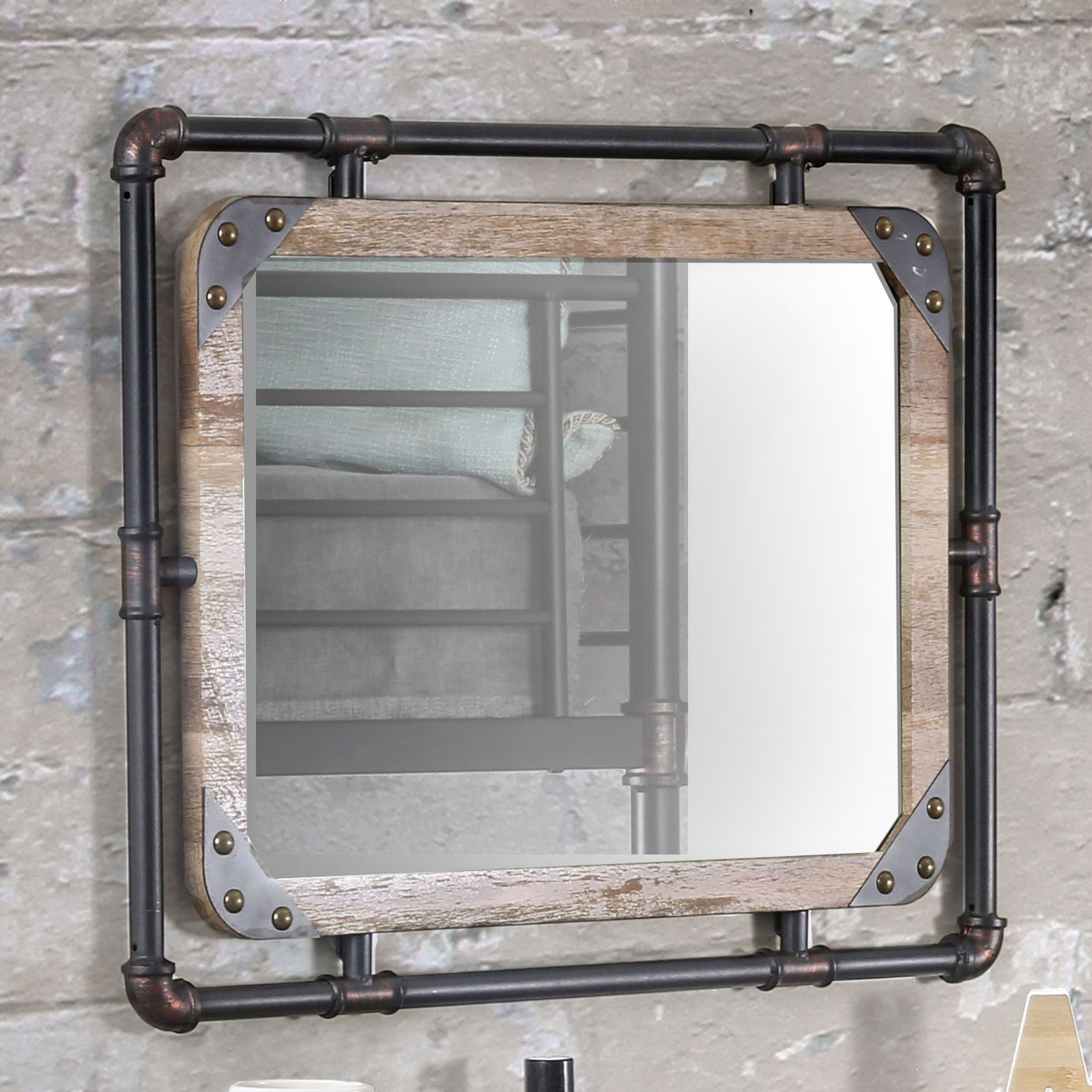 Furniture of America Revo Industrial Antique Black Framed Wall ...