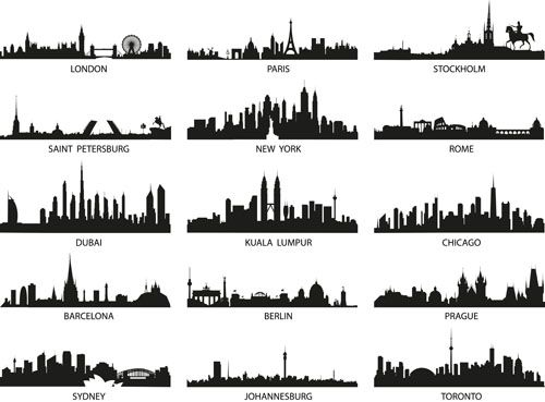 World Famous Cities Silhouettes Vector Set 02 Vector Silhouettes Free Download City Silhouette City Skyline City Skyline Silhouette