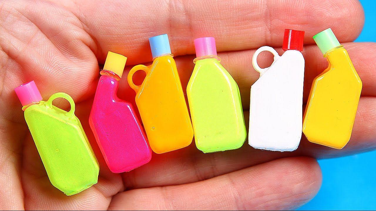 Diy miniature detergent bottles doll house crafts