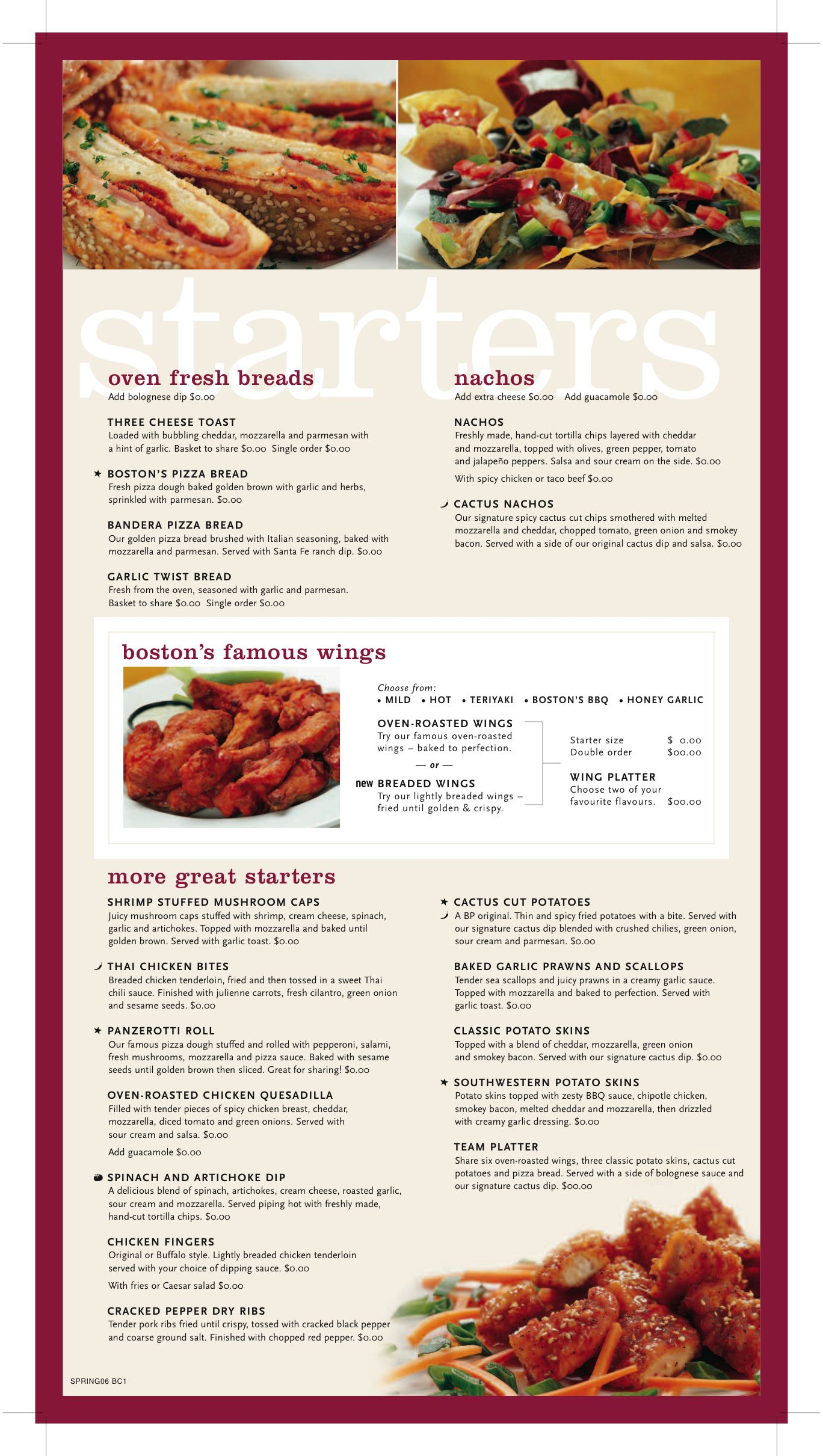 Boston Pizza Menu Sample Starters Hangar   Menu  Recipe