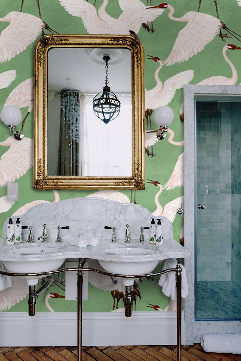 CUSTOM Heron print wallpaper Cranes wallpaper Inspired