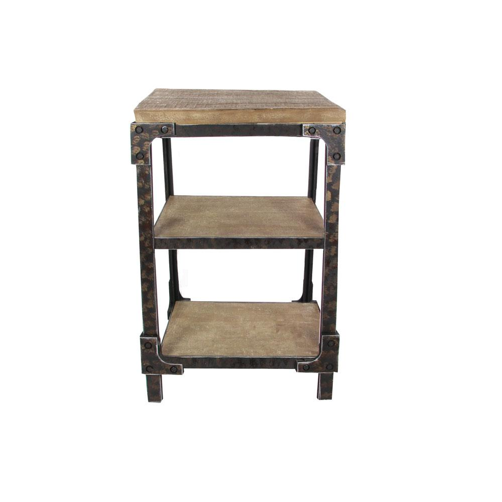 Litton Lane Distressed Brown 3 Tier Side Table With Black Iron