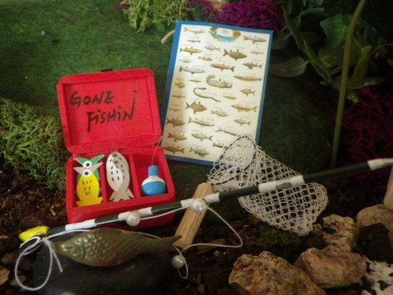 Miniature Dollhouse FAIRY GARDEN Accessories ~ Large Red Fishing Tackle Box NEW