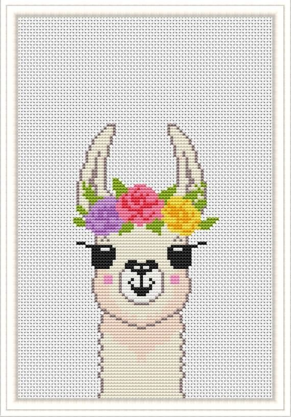 Photo of Llama Cross Stitch Funny pattern  Cute modern cross stitch Xstitch baby chart Animals baby nursery PDF Pattern printable download