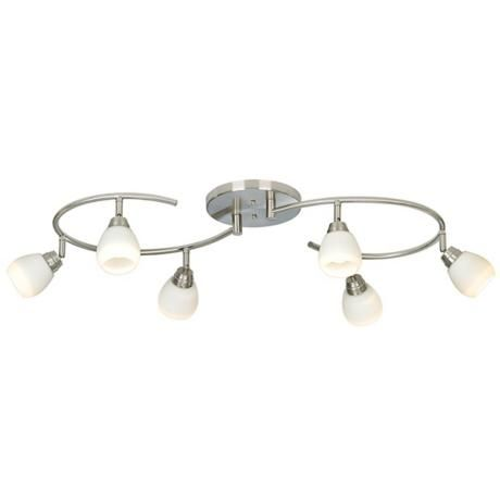 Pro track white glass halogen 6 light mini s wave track kit the s wave design of this pro track white glass light fixture could flood all corners of the kitchen with light aloadofball Gallery