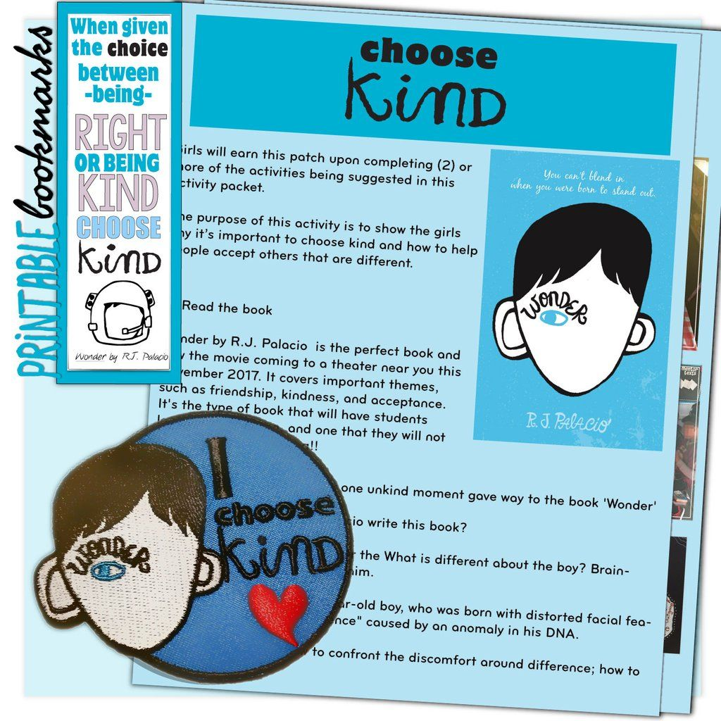 Wonders Choose Kind Activity Sheet Girl Scouts