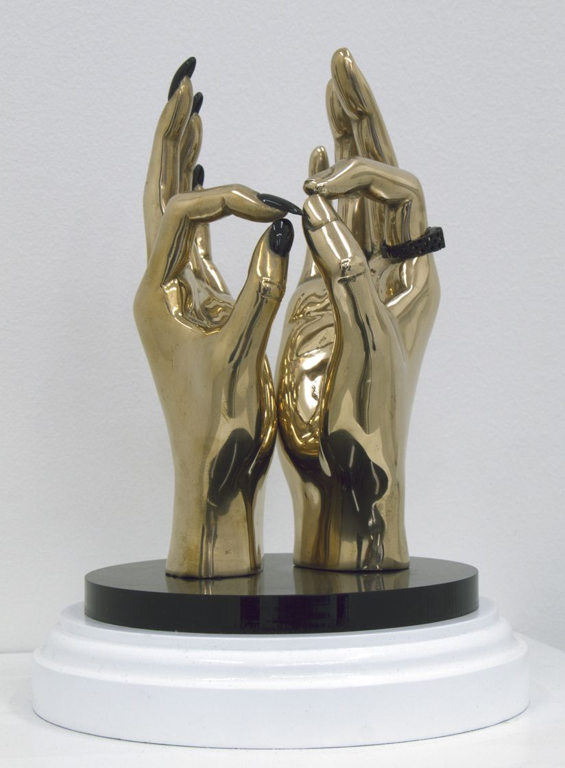 Kevin Francis Gray Hand Job  2007  Bronze, 24 ct Gold, Automotive Paint, Perspex,  18 x 10 x 8 cm