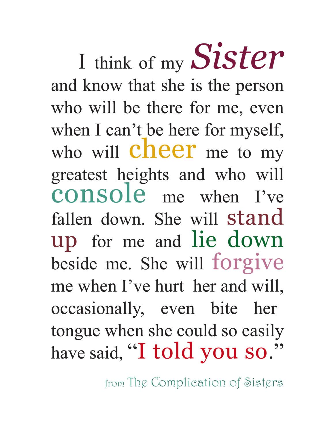 Sisterly Love Quotes Gift For Sister Sister Quotation Sisterkatherinemariacaart